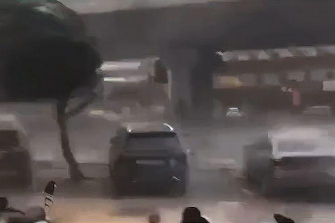 实拍海南台风天气:树被吹变形 市民狂风暴雨中艰难行走