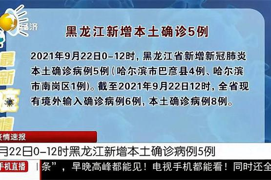 9月22日黑龙江新增本土确诊病例5例,两地调整为中风险地区
