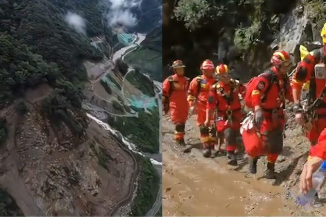 四川天全县泥石流致10余人失联 消防携搜救犬徒步进入 已救出4人