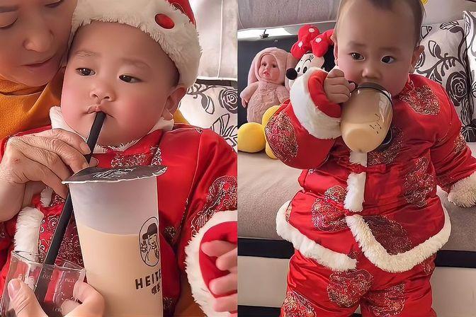 16个月大的宝宝不肯喝药 外婆想出了这一招 连喝奶的问题都解决了